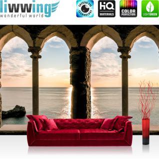 liwwing Vlies Fototapete 416x254cm PREMIUM PLUS Wand Foto Tapete Wand Bild Vliestapete - Meer Tapete Festung Ausblick Meer Wasser blau - no. 2802