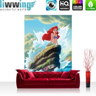 liwwing Vlies Fototapete 312x219cm PREMIUM PLUS Wand Foto Tapete Wand Bild Vliestapete - Disney Tapete Arielle Meerjungfrau Meerestiere unter Wasser Meer bunt - no. 1350