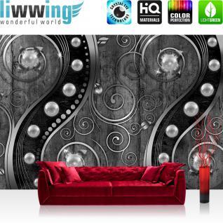 liwwing Vlies Fototapete 208x146cm PREMIUM PLUS Wand Foto Tapete Wand Bild Vliestapete - Illustrationen Tapete Ranke Blumen Perlen Holz Metalloptik anthrazit - no. 2904