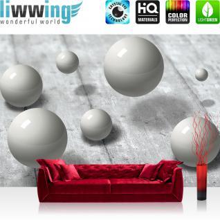 liwwing Vlies Fototapete 312x219cm PREMIUM PLUS Wand Foto Tapete Wand Bild Vliestapete - 3D Tapete Holzboden Perlen Murmeln Spiegelung Schatten 3D Optik grau - no. 2405