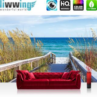 liwwing Vlies Fototapete 312x219cm PREMIUM PLUS Wand Foto Tapete Wand Bild Vliestapete - Landschaft Tapete Meer Himmel Strand Horizont Geländer blau - no. 2284