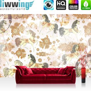 liwwing Vlies Fototapete 416x254cm PREMIUM PLUS Wand Foto Tapete Wand Bild Vliestapete - Illustrationen Tapete Muster Blumen Pferde Vintage Pflanzen braun - no. 2404