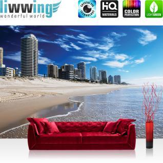 liwwing Fototapete 254x168 cm PREMIUM Wand Foto Tapete Wand Bild Papiertapete - Strand Tapete Meer Wasser Skyline Aussicht Gebäude blau - no. 3108