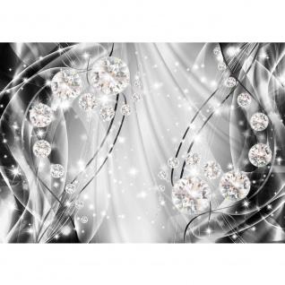 Fototapete Ornamente Tapete Perlen, Diamanten, Wellen grau | no. 3315