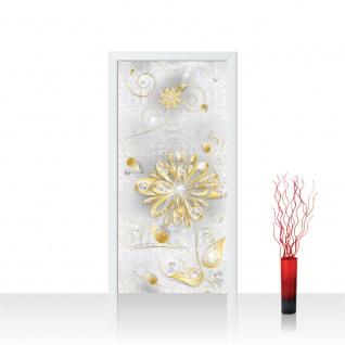 Türtapete - Ornament Blumen Gold Diamant | no. 1131