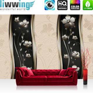 liwwing Vlies Fototapete 350x245 cm PREMIUM PLUS Wand Foto Tapete Wand Bild Vliestapete - Ornamente Tapete Blüten Blätter Ranke Sterne Muster Design beige - no. 811