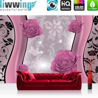 liwwing Vlies Fototapete 312x219cm PREMIUM PLUS Wand Foto Tapete Wand Bild Vliestapete - Ornamente Tapete Blume Rose Blüte Ranken Schwung Linien rosa - no. 1461