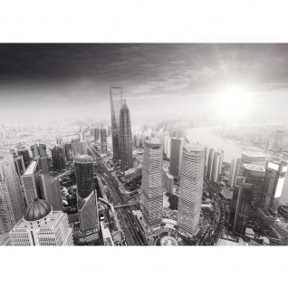 Fototapete Black and White Shanghai Sunset Skyline Tapete Wolkenkratzer schwarz - weiß   no. 49