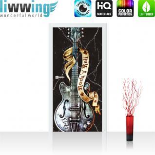 liwwing Vlies Türtapete 91x211 cm PREMIUM PLUS Tür Fototapete Türposter Türpanel Foto Tapete Bild - Gitarre Rock `n` Roll - no. 294