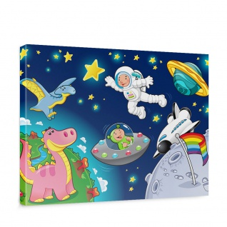 Leinwandbild Little Space Explorers Weltraum Star Weltall Kosmonaut Mond Sterne | no. 89