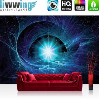 liwwing Fototapete 368x254 cm PREMIUM Wand Foto Tapete Wand Bild Papiertapete - Kunst Tapete Abstrakt Super Nova blau - no. 513