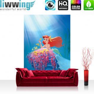 liwwing Vlies Fototapete 312x219cm PREMIUM PLUS Wand Foto Tapete Wand Bild Vliestapete - Disney Tapete Arielle Kindertapete Zeichentrick Meerjungfrau Unterwasser blau - no. 1964
