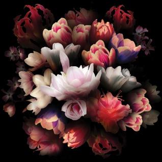 Leinwandbild Blume Bunte Rose Dunkelheit Bukett | no. 4324 - Vorschau 3