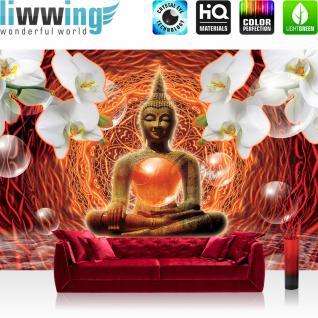 liwwing Vlies Fototapete 312x219cm PREMIUM PLUS Wand Foto Tapete Wand Bild Vliestapete - Ornamente Tapete Orchidee Blume Buddha Religion Spiegelung orange - no. 2038