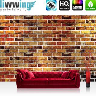 liwwing Vlies Fototapete 400x280 cm PREMIUM PLUS Wand Foto Tapete Wand Bild Vliestapete - Steinwand Tapete Steine braun Steinmauer rot - no. 419