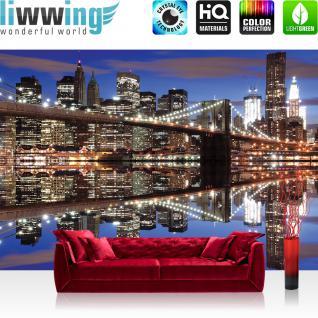liwwing Fototapete 368x254 cm PREMIUM Wand Foto Tapete Wand Bild Papiertapete - Skylines Tapete Skyline Nacht Lightning Brücke Wasser Spiegelung blau - no. 2203