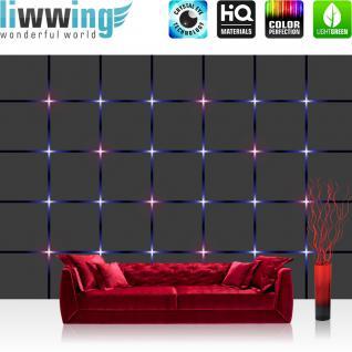 liwwing Vlies Fototapete 312x219cm PREMIUM PLUS Wand Foto Tapete Wand Bild Vliestapete - 3D Tapete Kacheln Lichter Kunst Design 3D Optik lila - no. 1361
