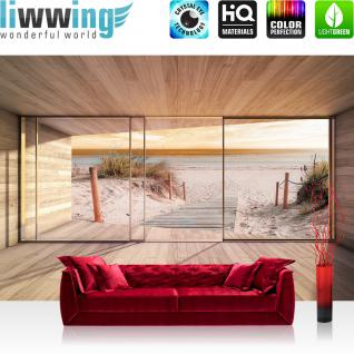 liwwing Fototapete 368x254 cm PREMIUM Wand Foto Tapete Wand Bild Papiertapete - Strand Tapete Holz Raum Ausblick Strand Meer Wasser Steg beige - no. 1893