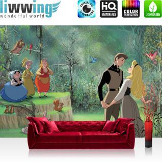 liwwing Vlies Fototapete 416x254cm PREMIUM PLUS Wand Foto Tapete Wand Bild Vliestapete - Disney Tapete Dornröschen Sleeping Beauty Kindertapete Zeichentrick Tiere Feen grün - no. 2000