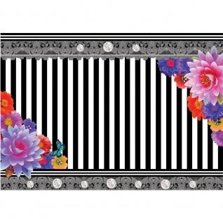 Fototapete Ornamente Tapete Blumen Streifen Blüten Kunst schwarz - weiß | no. 1999