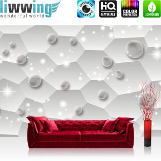 liwwing Vlies Fototapete 350x245 cm PREMIUM PLUS Wand Foto Tapete Wand Bild Vliestapete - Kunst Tapete Abstrakt Rechtecke Perlen Sterne Glitzer Blasen grau - no. 968