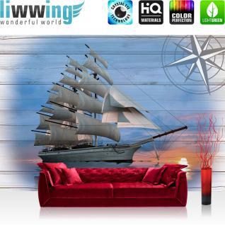 liwwing Vlies Fototapete 312x219cm PREMIUM PLUS Wand Foto Tapete Wand Bild Vliestapete - Meer Tapete Segelschiff Seerose Windjammer Hohe See blau - no. 3183