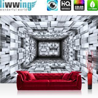 liwwing Vlies Fototapete 312x219cm PREMIUM PLUS Wand Foto Tapete Wand Bild Vliestapete - 3D Tapete Optik Muster Kacheln Rechtecke Abstrakt Illustration schwarz weiß - no. 1262