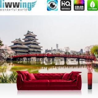 liwwing Vlies Fototapete 350x245 cm PREMIUM PLUS Wand Foto Tapete Wand Bild Vliestapete - Stadt Japan Turm - no. 253