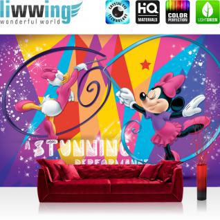 liwwing Fototapete 368x254 cm PREMIUM Wand Foto Tapete Wand Bild Papiertapete - Disney Tapete Disney - Mickey Mouse - Minnie (Daisy Duck) Kindertapete Cartoon Comic Tänzerinnen bunt - no. 312