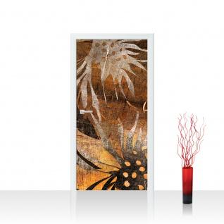 Türtapete - Grunge Floral Ornaments abstrakt 3D Wand braun Blumen alt deko | no. 57