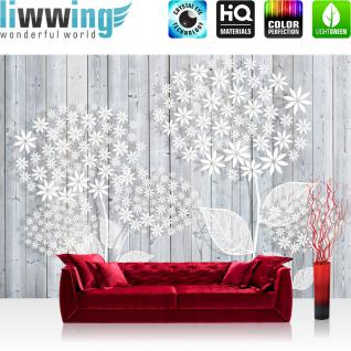 liwwing Vlies Fototapete 104x50.5cm PREMIUM PLUS Wand Foto Tapete Wand Bild Vliestapete - Holz Tapetewand Holzoptik Malerei Blume Blätter Blüten Schatten weiß - no. 1410