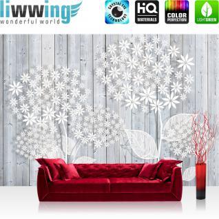 liwwing Vlies Fototapete 312x219cm PREMIUM PLUS Wand Foto Tapete Wand Bild Vliestapete - Holz Tapetewand Holzoptik Malerei Blume Blätter Blüten Schatten weiß - no. 1410