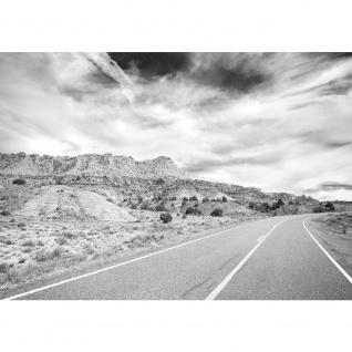 Fototapete Landschaft Tapete Wüste Himmel Straße Amerika schwarz - weiß | no. 2556