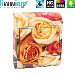 Edelstahl Wandbriefkasten XXL mit Motiv & Zeitungsrolle   Blumen Rose Blüten Natur Liebe Love Blüte Gelb   no. 0191 - Vorschau 2
