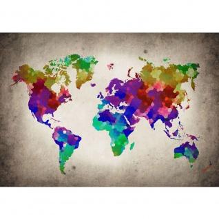 Fototapete Welt Tapete Weltkarte, Polygone, Graffiti bunt | no. 3177