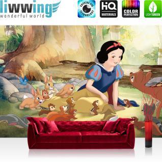 liwwing Vlies Fototapete 312x219cm PREMIUM PLUS Wand Foto Tapete Wand Bild Vliestapete - Disney Tapete Schneewittchen und die 5 Zwerge Cartoons Kindertapete braun - no. 1244