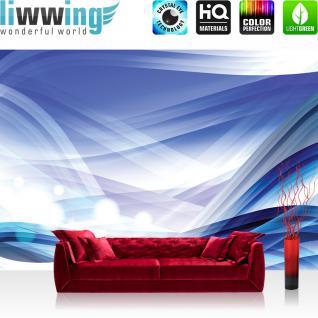 liwwing Fototapete 368x254 cm PREMIUM Wand Foto Tapete Wand Bild Papiertapete - Kunst Tapete Abstrakt Design Streifen Linien Moderne blau - no. 2495