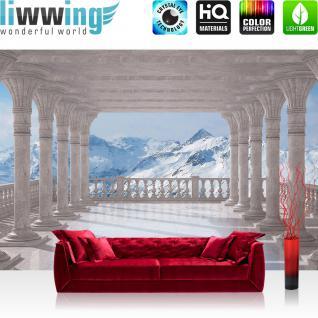 liwwing Fototapete 368x254 cm PREMIUM Wand Foto Tapete Wand Bild Papiertapete - Berge Tapete Terrasse Balkon Berge Schnee Gipfel Alpen weiß - no. 2085