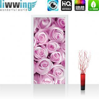 liwwing Türtapete selbstklebend 91x211 cm PREMIUM PLUS Tür Fototapete Türposter Türpanel Foto Tapete Bild - Rosen Blumen Blüten Pflanze - no. 363