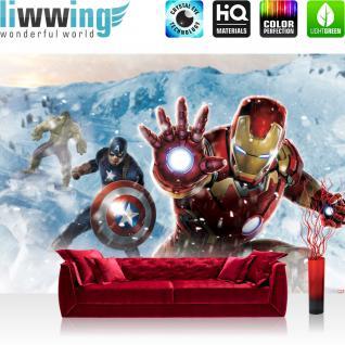liwwing Vlies Fototapete 312x219cm PREMIUM PLUS Wand Foto Tapete Wand Bild Vliestapete - Jungen Tapete Marvel AVENGERS Hulk Iron Man Thor Captain America Cartoons bunt - no. 1280