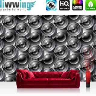 liwwing Fototapete 368x254 cm PREMIUM Wand Foto Tapete Wand Bild Papiertapete - Kunst Tapete Abstrakt Kreise Muster Kunst grau - no. 2126