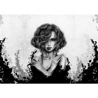 Fototapete Kunst Tapete Comic Art, Frau, Mädchen schwarz - weiß | no. 3554