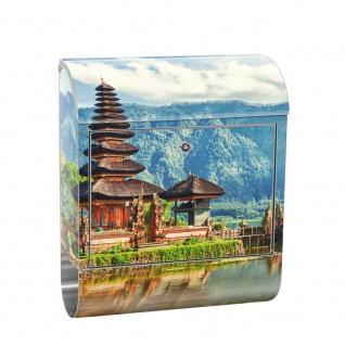 Edelstahl Wandbriefkasten XXL mit Motiv & Zeitungsrolle | Bali Tempel Wasser Natur | no. 0248