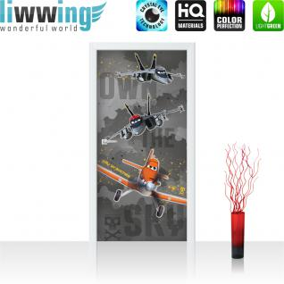 liwwing Türtapete selbstklebend 91x211 cm PREMIUM PLUS Tür Fototapete Türposter Türpanel Foto Tapete Bild - DISNEYToon Planes Dusty Kindertapete Cartoon Flugzeuge - no. 1052