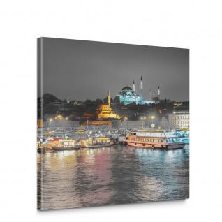Leinwandbild Bosporus Türkei Nacht Lichter Schiff   no. 5115