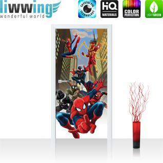 liwwing Türtapete selbstklebend 91x211 cm PREMIUM PLUS Tür Fototapete Türposter Türpanel Foto Tapete Bild - MARVEL Spiderman Kindertapete Comic - no. 318