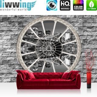liwwing Fototapete 254x168 cm PREMIUM Wand Foto Tapete Wand Bild Papiertapete - Steinwand Tapete Steine Steinoptik Fenster Skyline Spiegelung Lichter grau - no. 2256