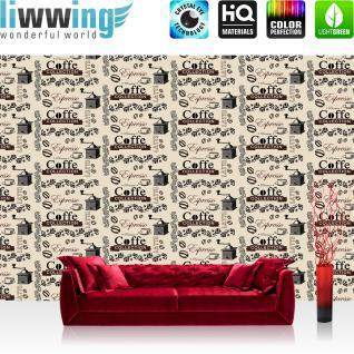 liwwing Vlies Fototapete 416x254cm PREMIUM PLUS Wand Foto Tapete Wand Bild Vliestapete - Kaffee Tapete Coffee Ornamente Kaffeebohne beige - no. 1253