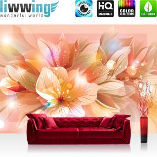 liwwing Vlies Fototapete 416x254cm PREMIUM PLUS Wand Foto Tapete Wand Bild Vliestapete - Blumen Tapete Blüte Blätter Malerei Pflanze rosa - no. 2939