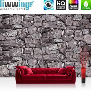 liwwing Fototapete 254x168 cm PREMIUM Wand Foto Tapete Wand Bild Papiertapete - Steinwand Tapete Steinwand Steine Steinoptik grau - no. 616